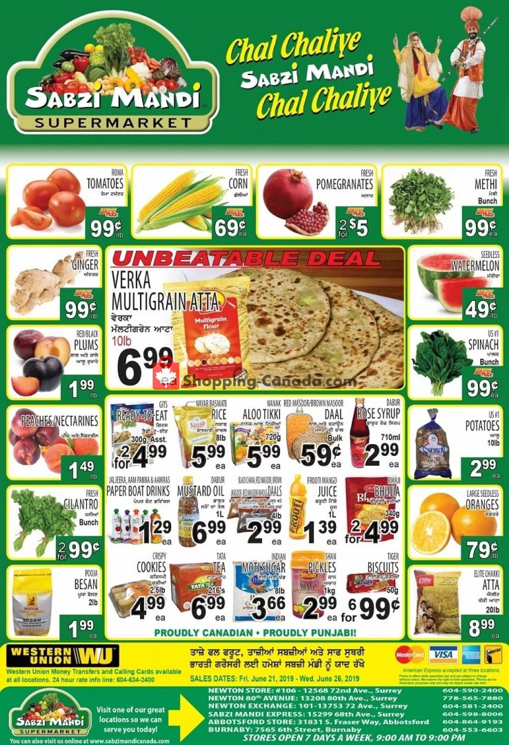 Flyer Sabzi Mandi Supermarket Canada - from Friday June 21, 2019 to Wednesday June 26, 2019
