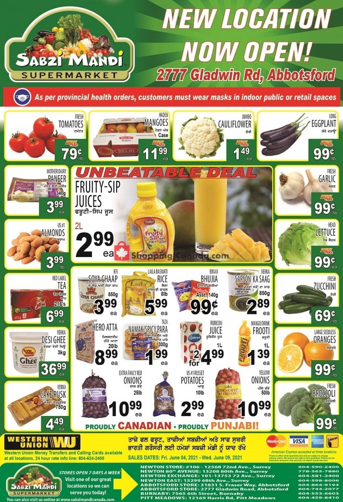 Flyer Sabzi Mandi Supermarket Canada - from Friday June 4, 2021 to Wednesday June 9, 2021