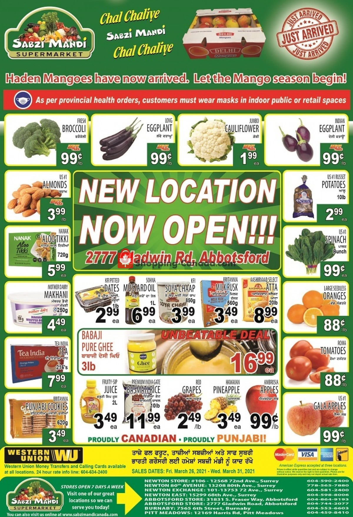 Flyer Sabzi Mandi Supermarket Canada - from Friday March 26, 2021 to Wednesday March 31, 2021