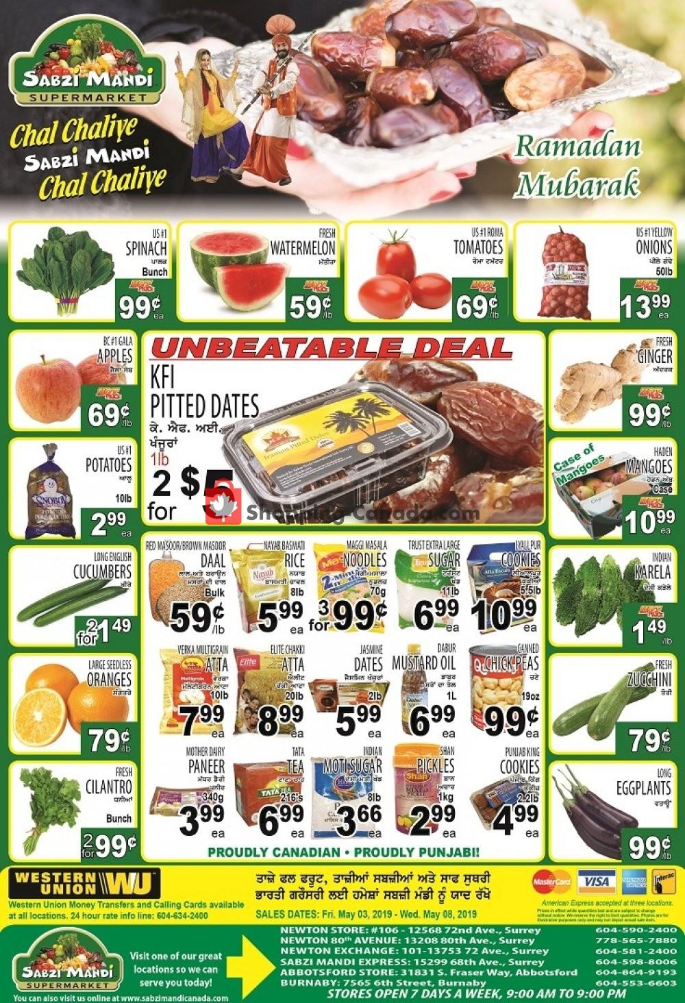 Flyer Sabzi Mandi Supermarket Canada - from Friday May 3, 2019 to Wednesday May 8, 2019