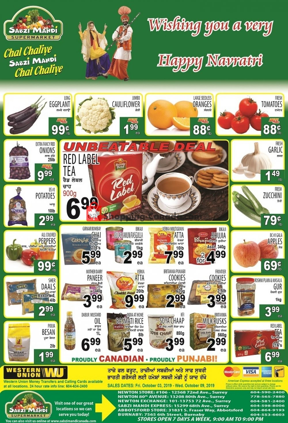 Flyer Sabzi Mandi Supermarket Canada - from Thursday October 3, 2019 to Wednesday October 9, 2019