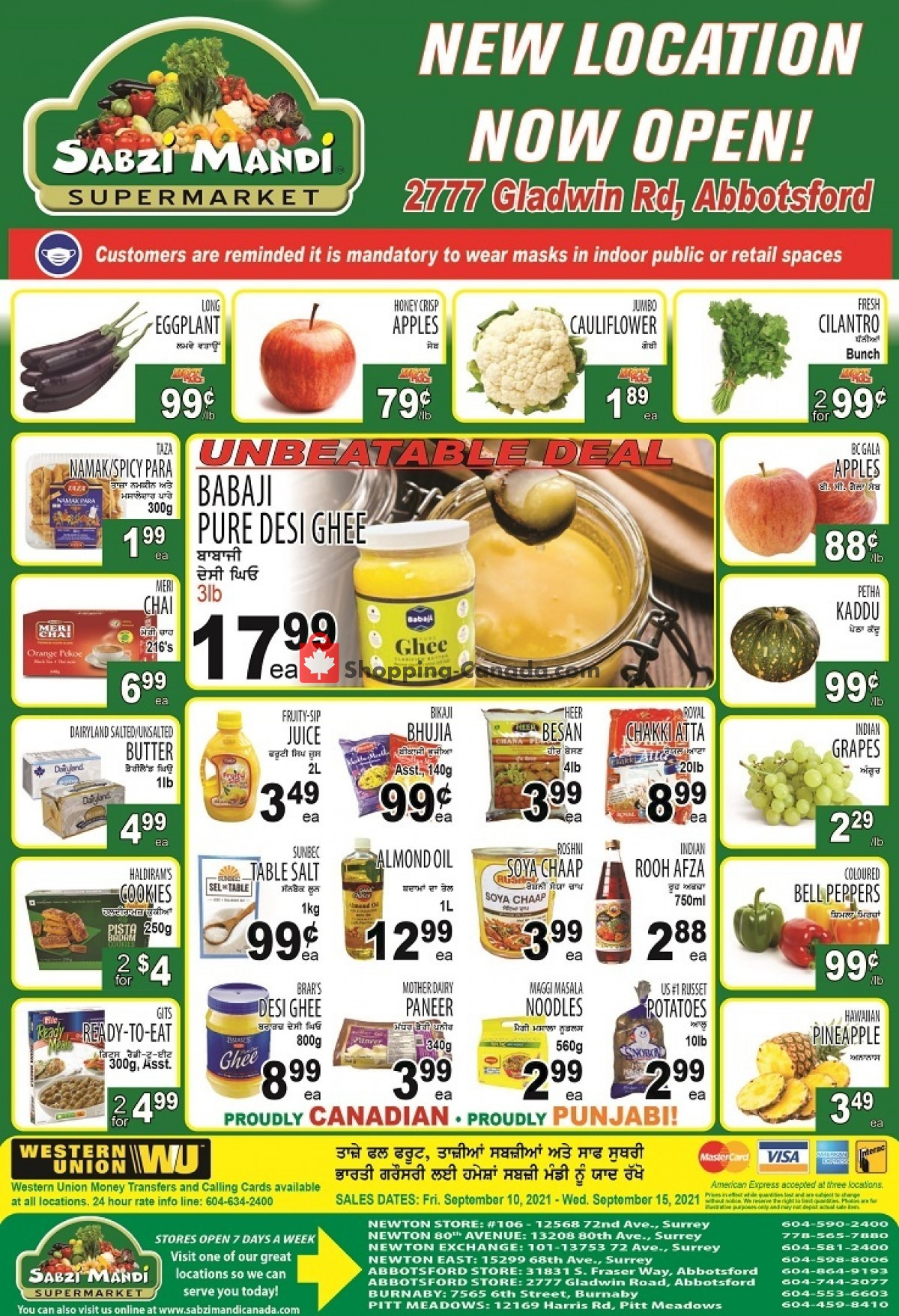 Flyer Sabzi Mandi Supermarket Canada - from Friday September 10, 2021 to Wednesday September 15, 2021