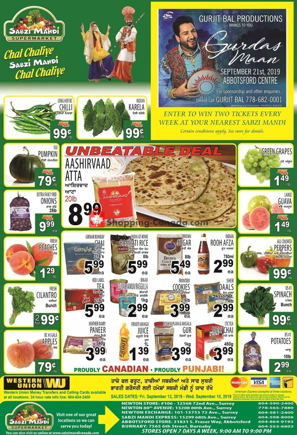 Flyer Sabzi Mandi Supermarket Canada - from Friday September 13, 2019 to Wednesday September 18, 2019