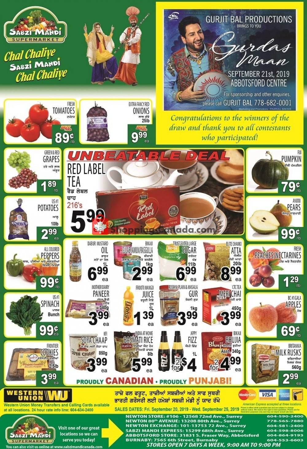 Flyer Sabzi Mandi Supermarket Canada - from Friday September 20, 2019 to Wednesday September 25, 2019