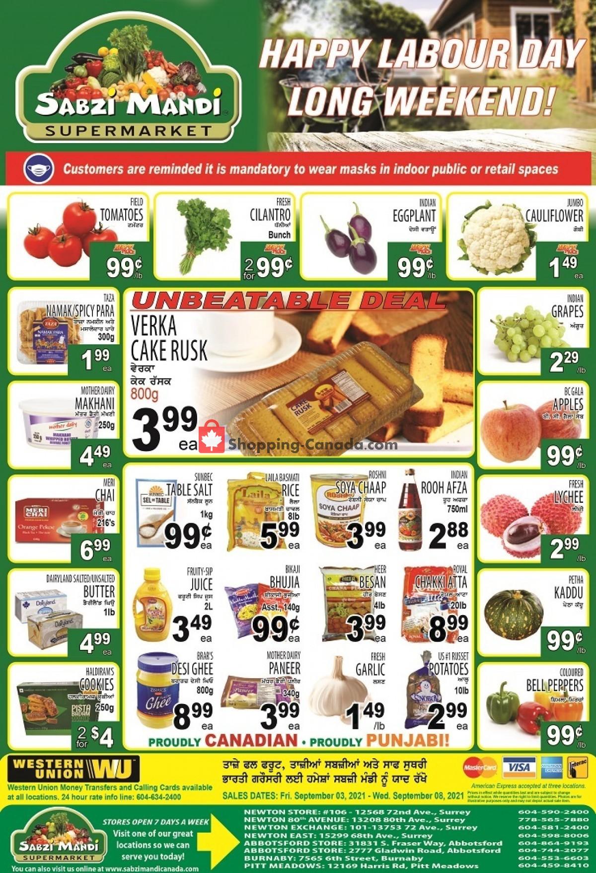 Flyer Sabzi Mandi Supermarket Canada - from Friday September 3, 2021 to Wednesday September 8, 2021