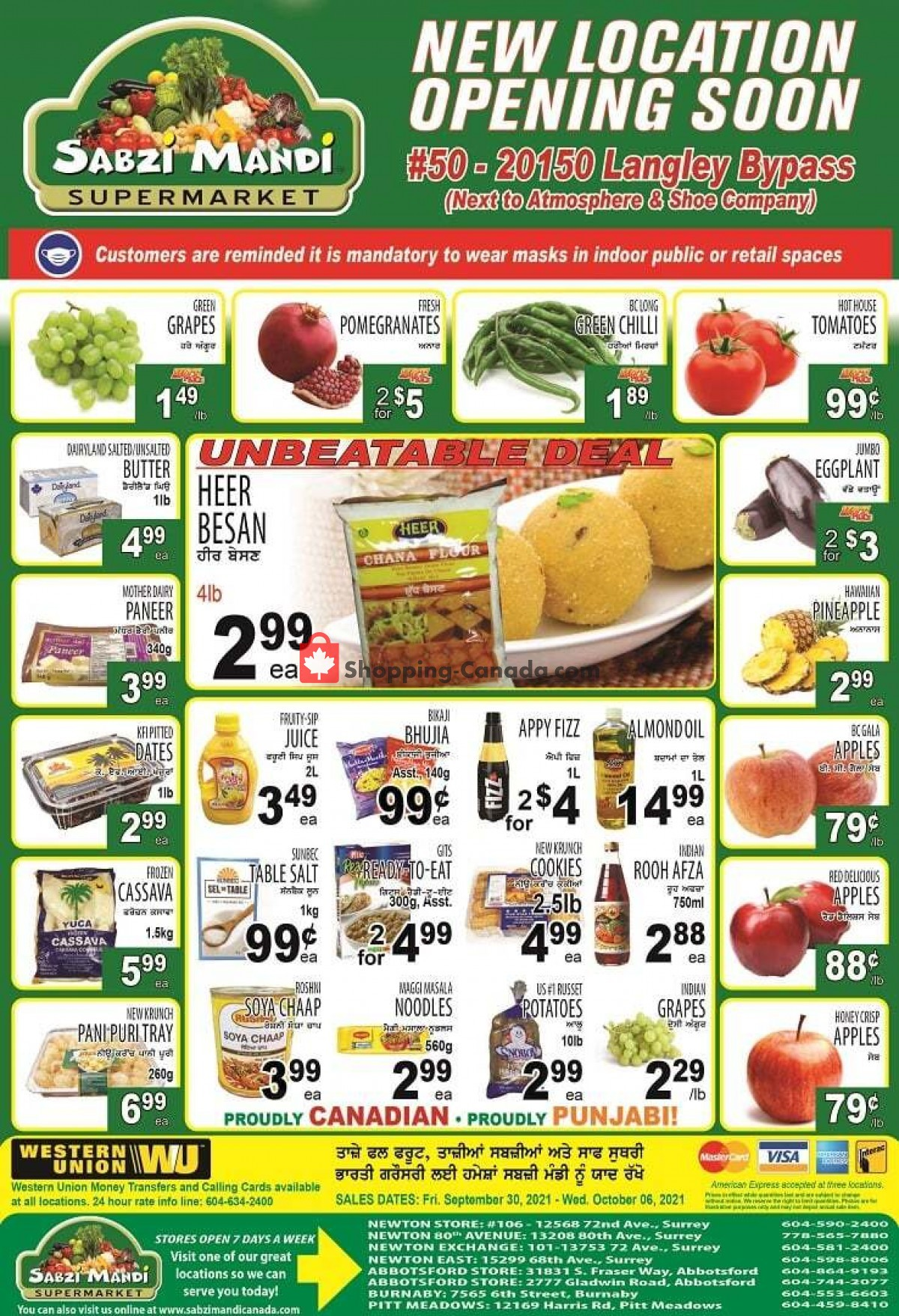 Flyer Sabzi Mandi Supermarket Canada - from Thursday September 30, 2021 to Wednesday October 6, 2021