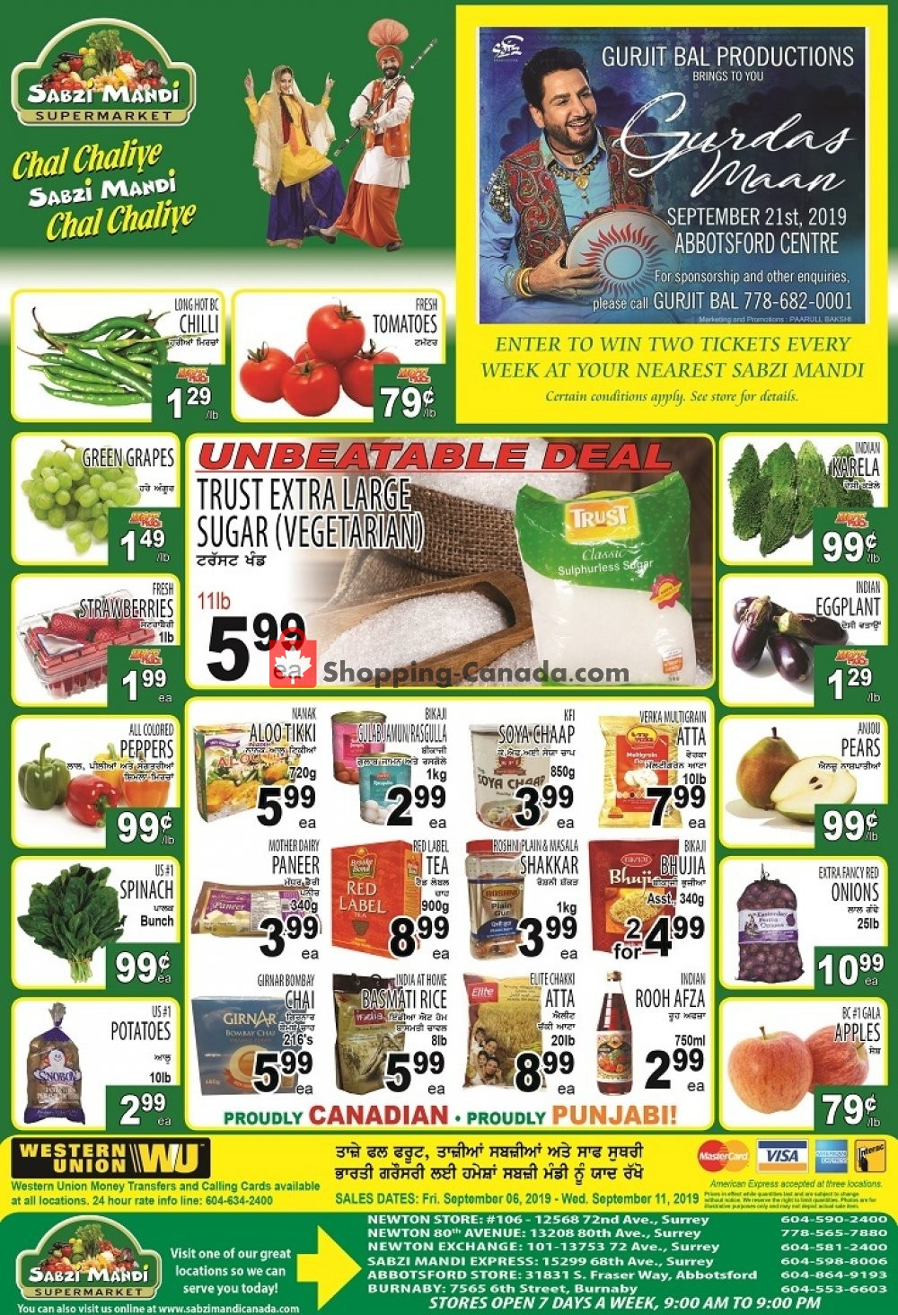 Flyer Sabzi Mandi Supermarket Canada - from Friday September 6, 2019 to Wednesday September 11, 2019