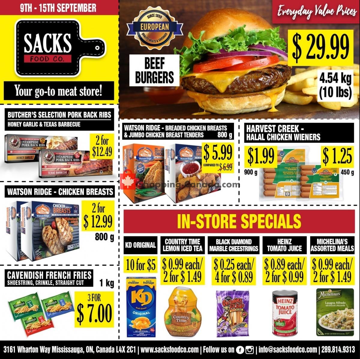 Flyer Sack Food Co. Canada - from Thursday September 9, 2021 to Wednesday September 15, 2021