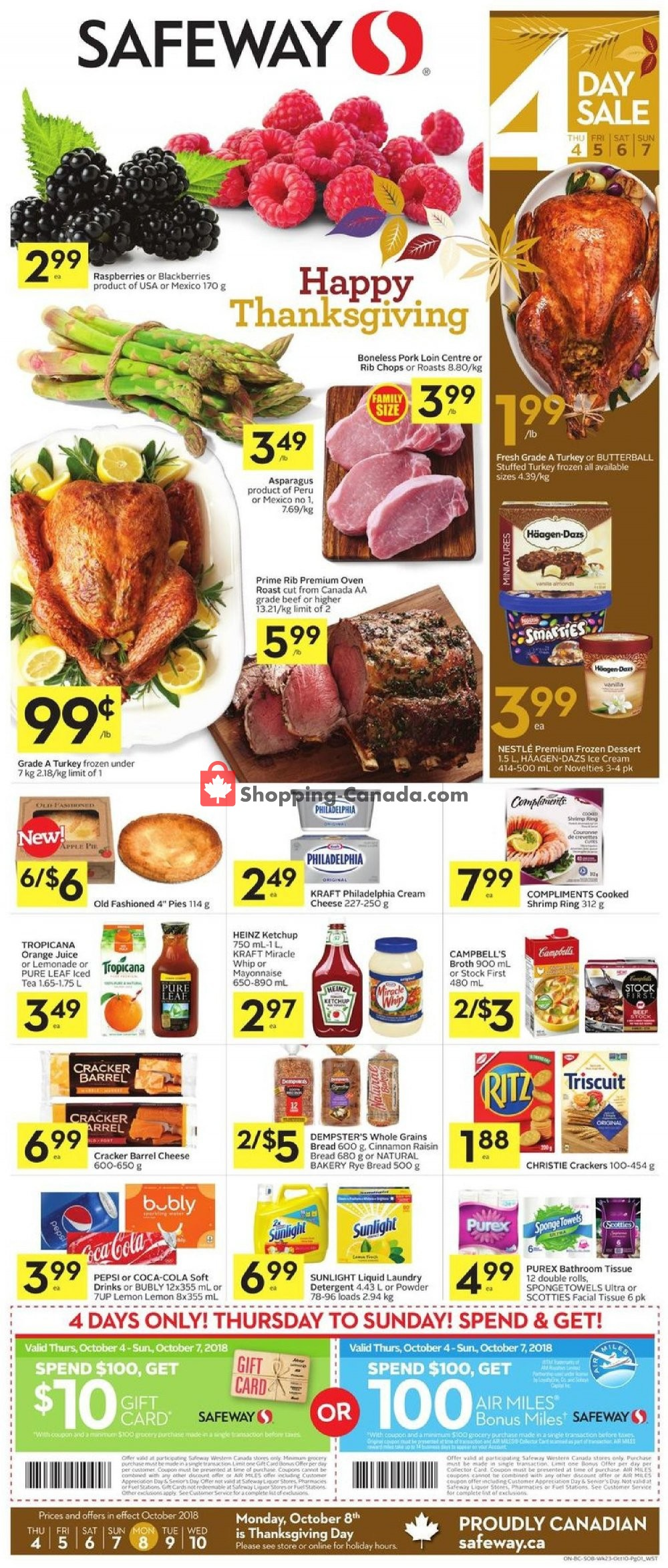 Flyer Safeway Canada - from Thursday October 4, 2018 to Wednesday October 10, 2018