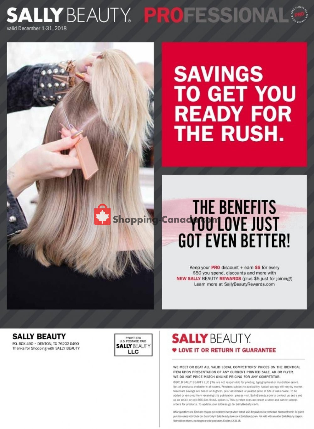 Flyer Sally Beauty Canada - from Saturday December 1, 2018 to Monday December 31, 2018