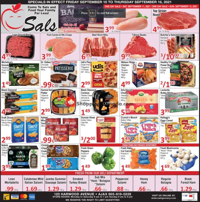 Flyer Sal's Grocery Canada - from Friday September 10, 2021 to Thursday September 16, 2021
