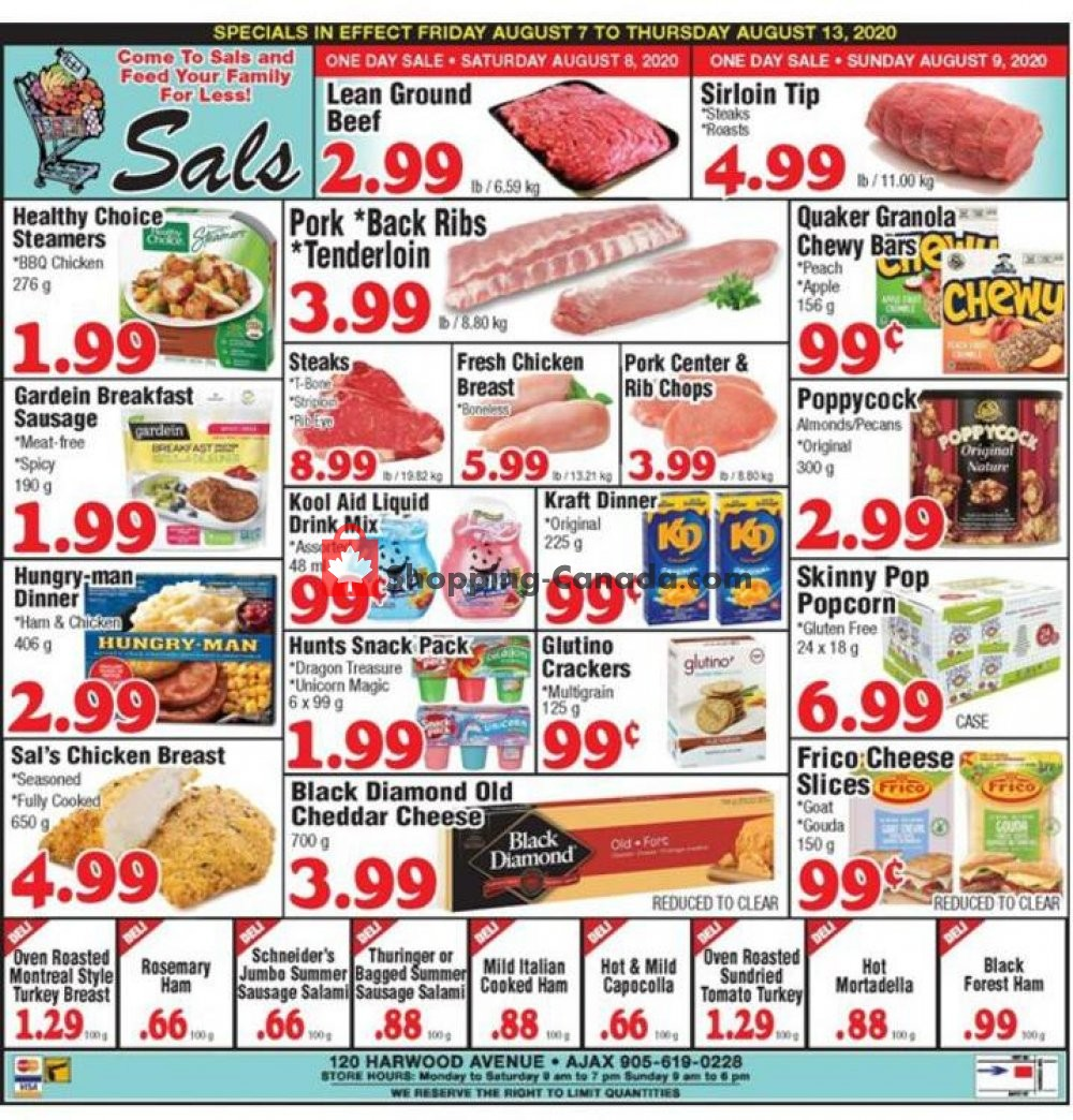 Flyer Sal's Grocery Canada - from Friday August 7, 2020 to Thursday August 13, 2020