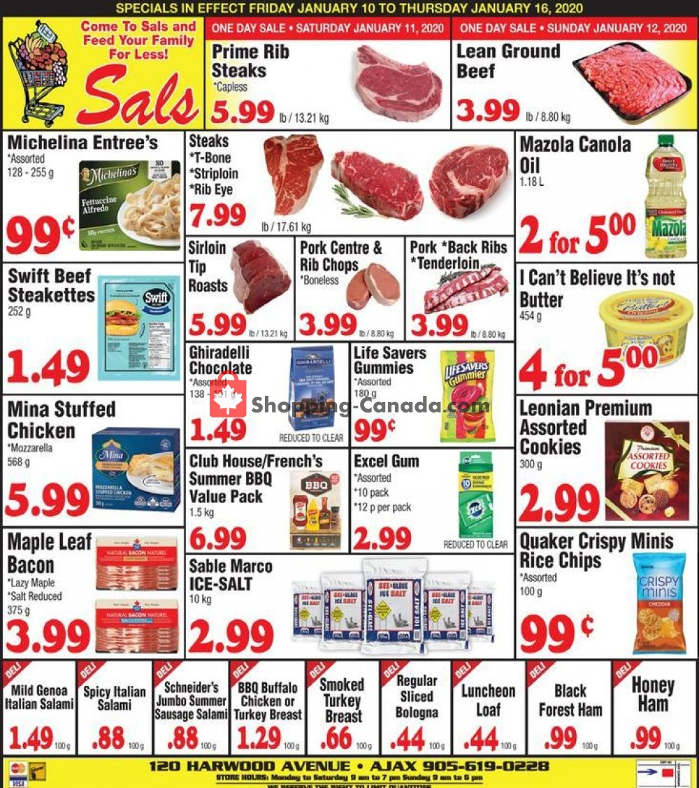 Flyer Sal's Grocery Canada - from Friday January 10, 2020 to Thursday January 16, 2020