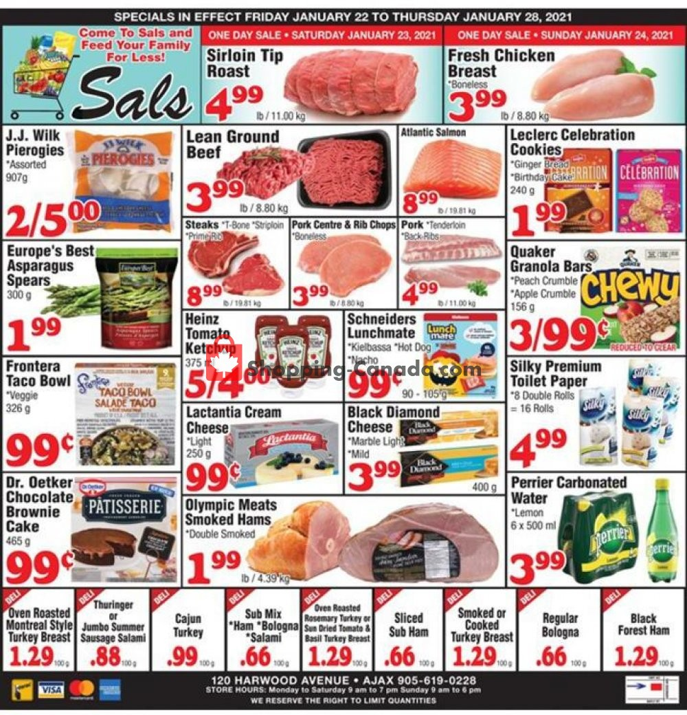 Flyer Sal's Grocery Canada - from Friday January 22, 2021 to Thursday January 28, 2021