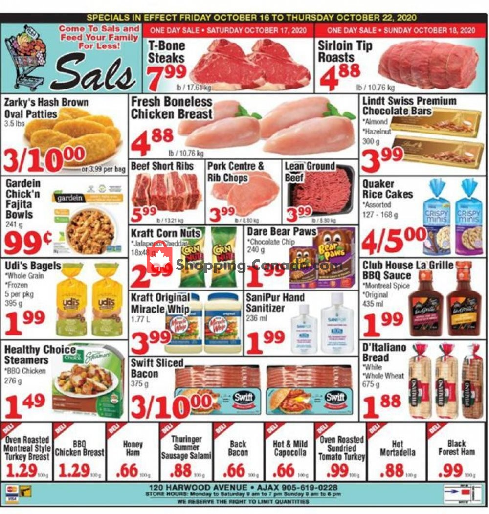 Flyer Sal's Grocery Canada - from Friday October 16, 2020 to Thursday October 22, 2020