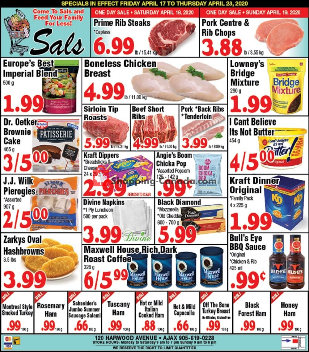 Flyer Sal's Grocery Canada - from Friday April 17, 2020 to Thursday April 23, 2020