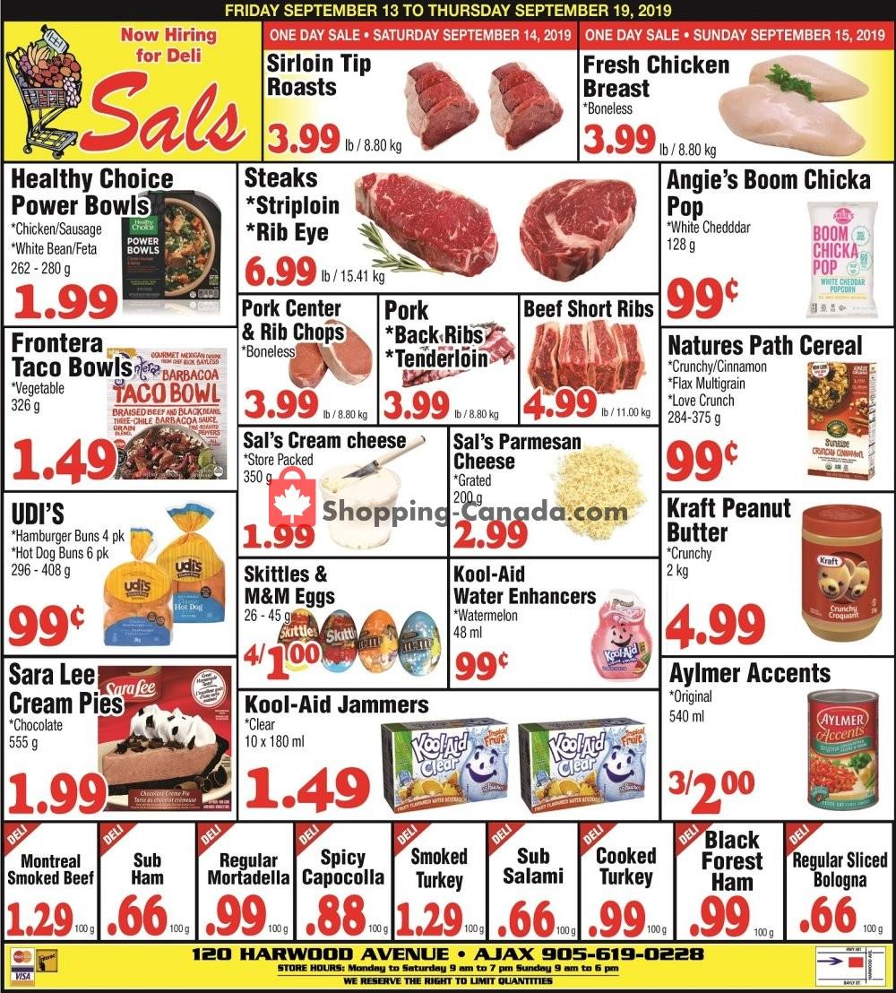 Flyer Sal's Grocery Canada - from Friday September 13, 2019 to Thursday September 19, 2019