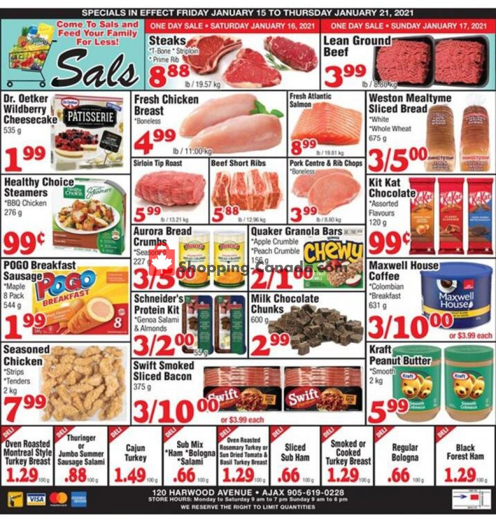Flyer Sal's Grocery Canada - from Friday January 15, 2021 to Thursday January 21, 2021
