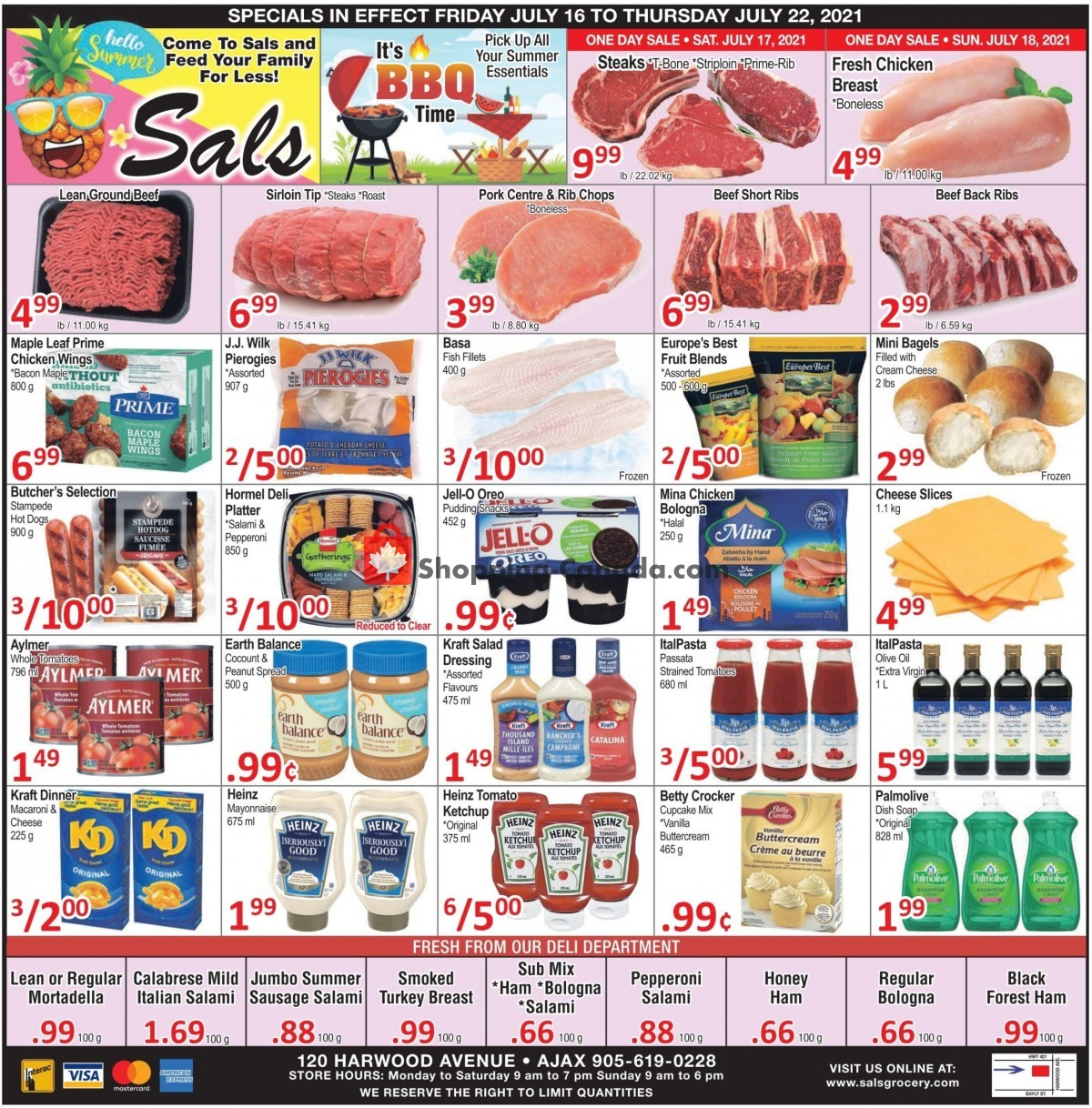 Flyer Sal's Grocery Canada - from Friday July 16, 2021 to Thursday July 22, 2021