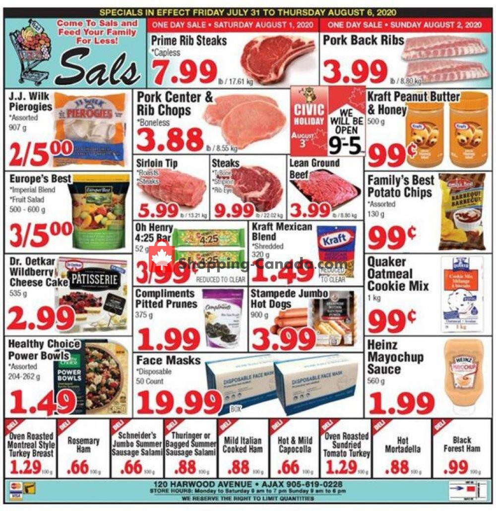 Flyer Sal's Grocery Canada - from Friday July 31, 2020 to Thursday August 6, 2020