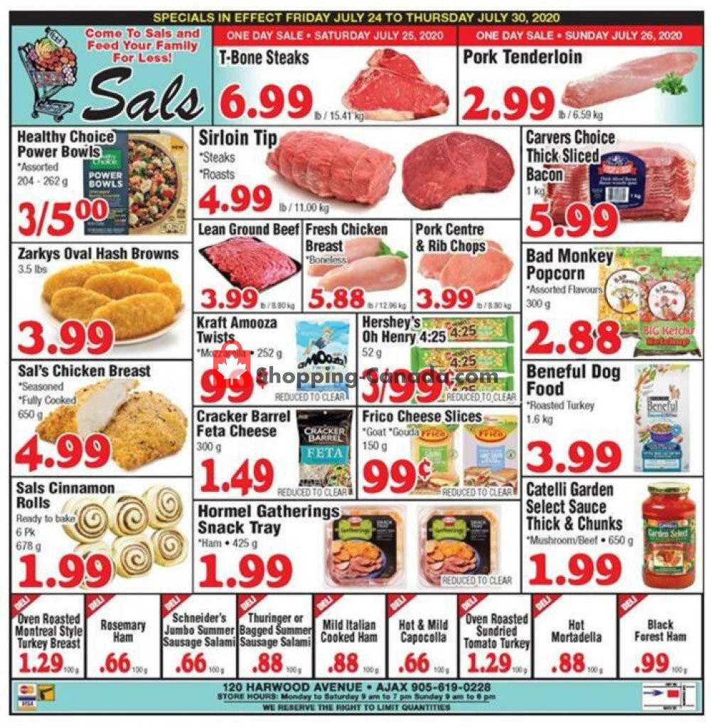 Flyer Sal's Grocery Canada - from Friday July 24, 2020 to Thursday July 30, 2020