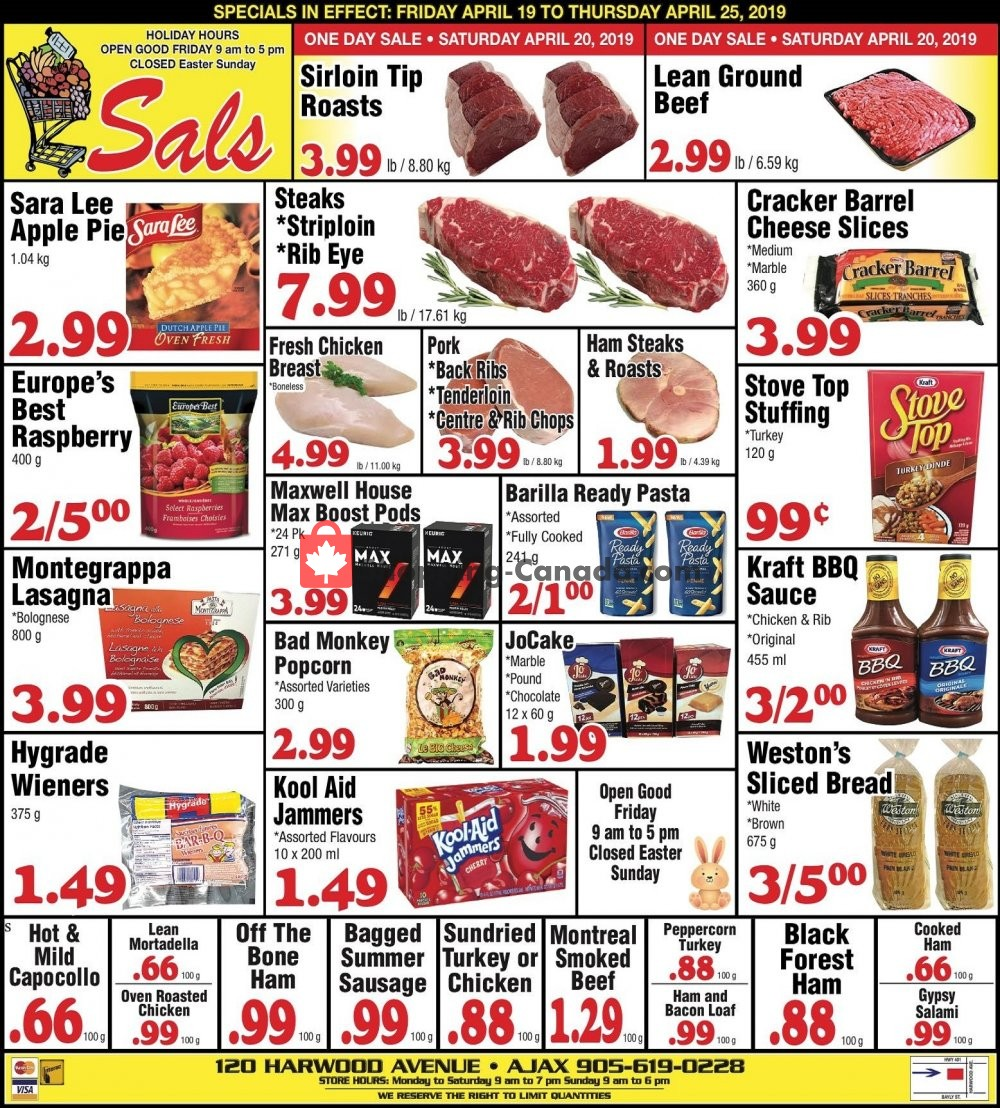 Flyer Sal's Grocery Canada - from Friday April 19, 2019 to Thursday April 25, 2019