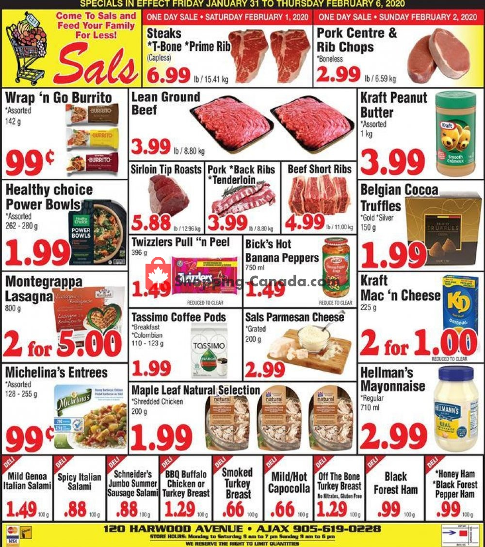 Flyer Sal's Grocery Canada - from Friday January 31, 2020 to Thursday February 6, 2020