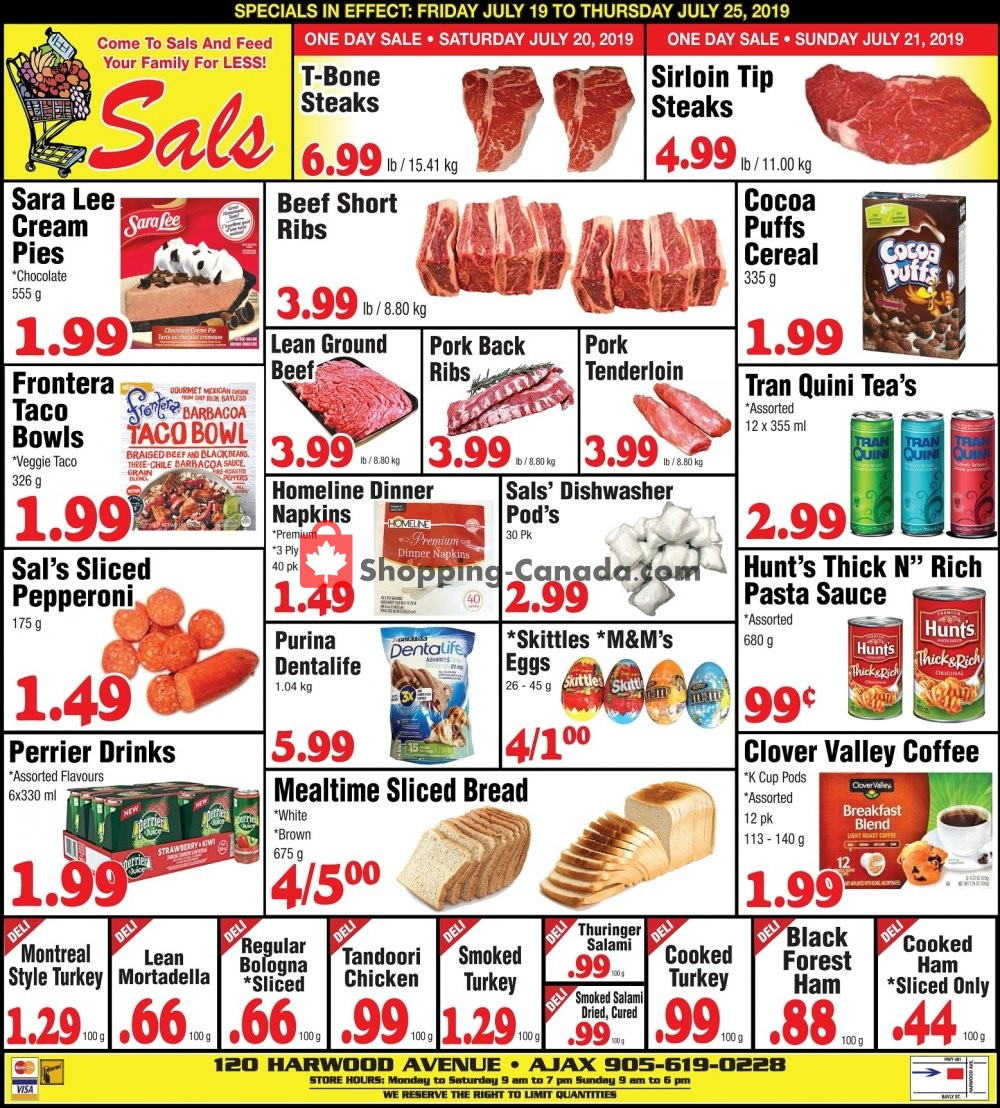 Flyer Sal's Grocery Canada - from Friday July 19, 2019 to Thursday July 25, 2019