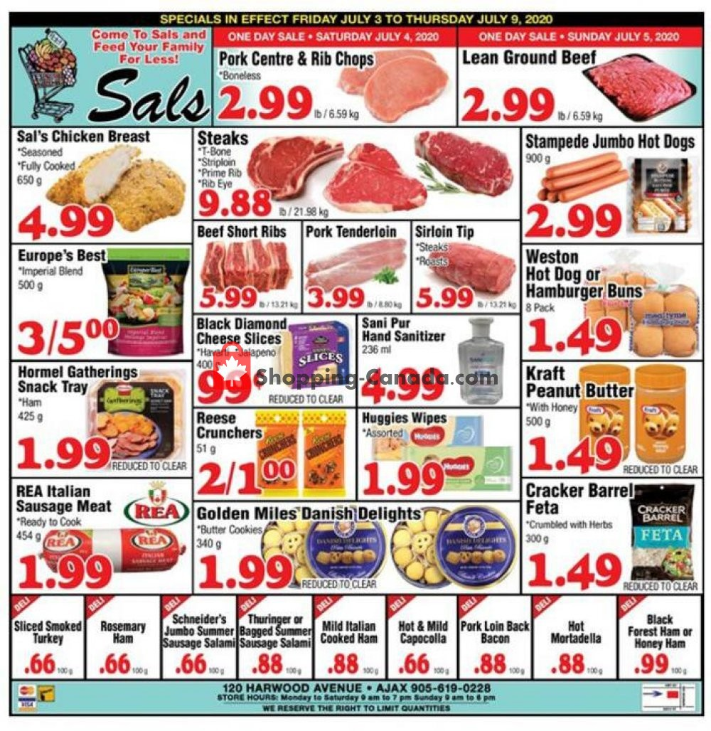Flyer Sal's Grocery Canada - from Friday July 3, 2020 to Thursday July 9, 2020