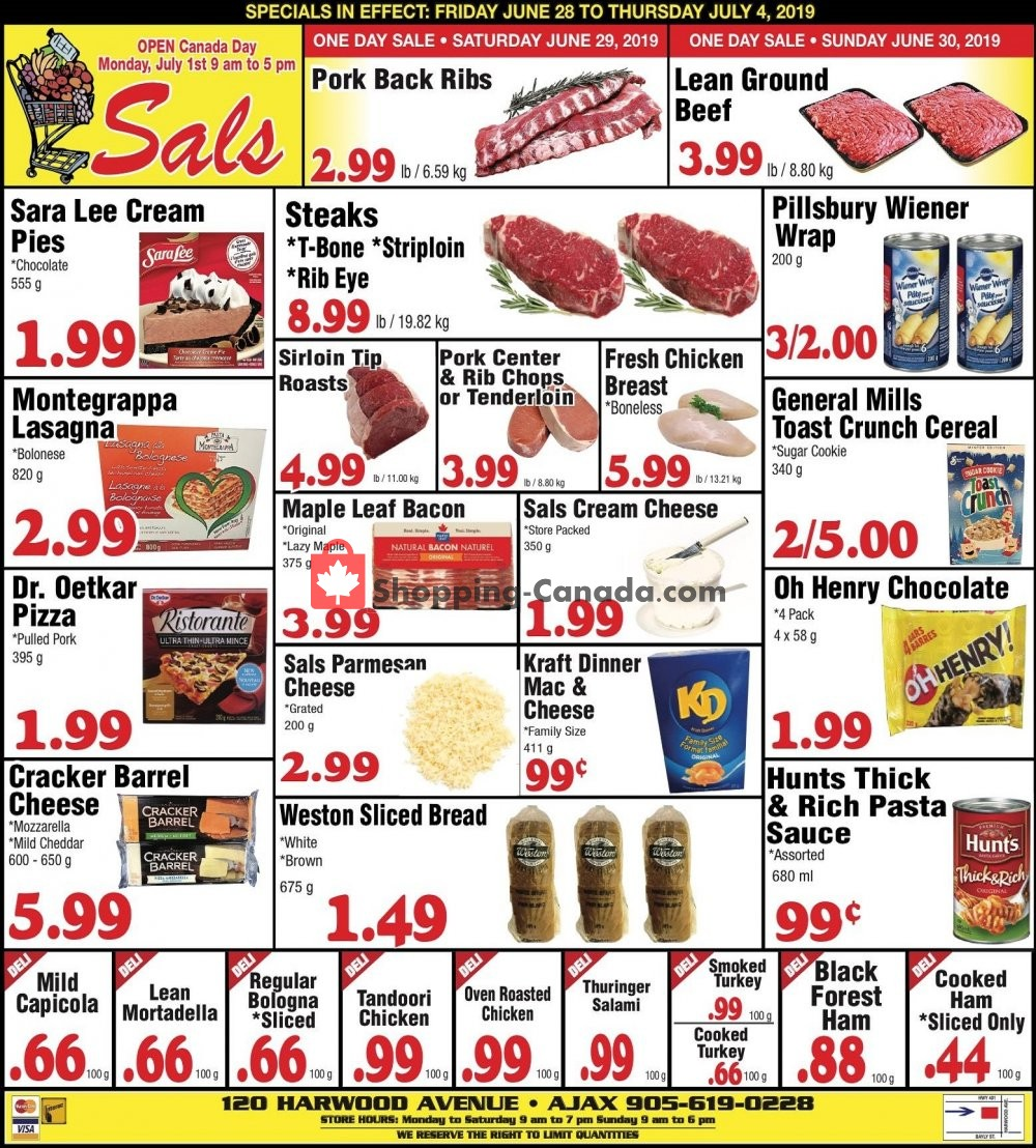 Flyer Sal's Grocery Canada - from Friday June 28, 2019 to Thursday July 4, 2019