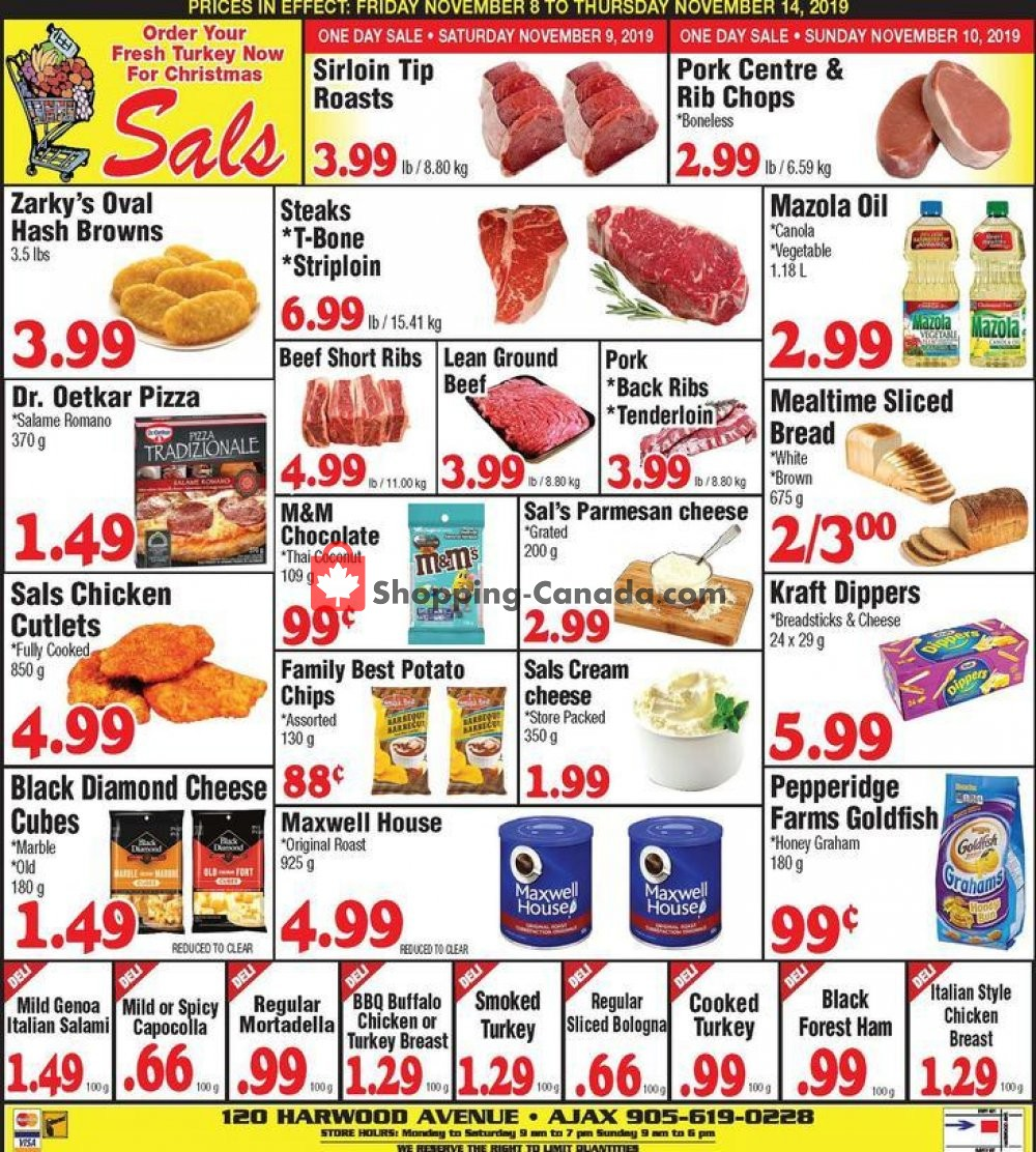 Flyer Sal's Grocery Canada - from Friday November 8, 2019 to Thursday November 14, 2019