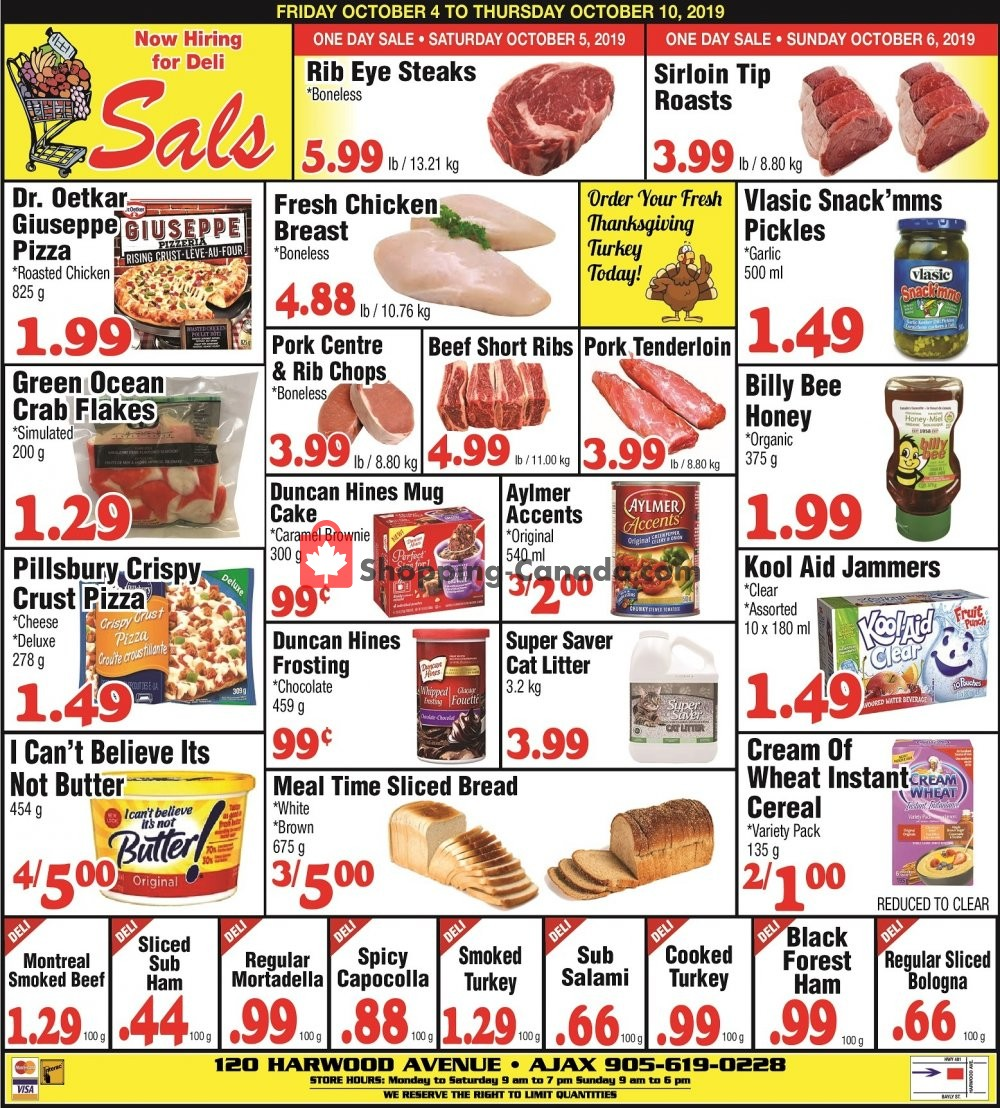 Flyer Sal's Grocery Canada - from Friday October 4, 2019 to Thursday October 10, 2019