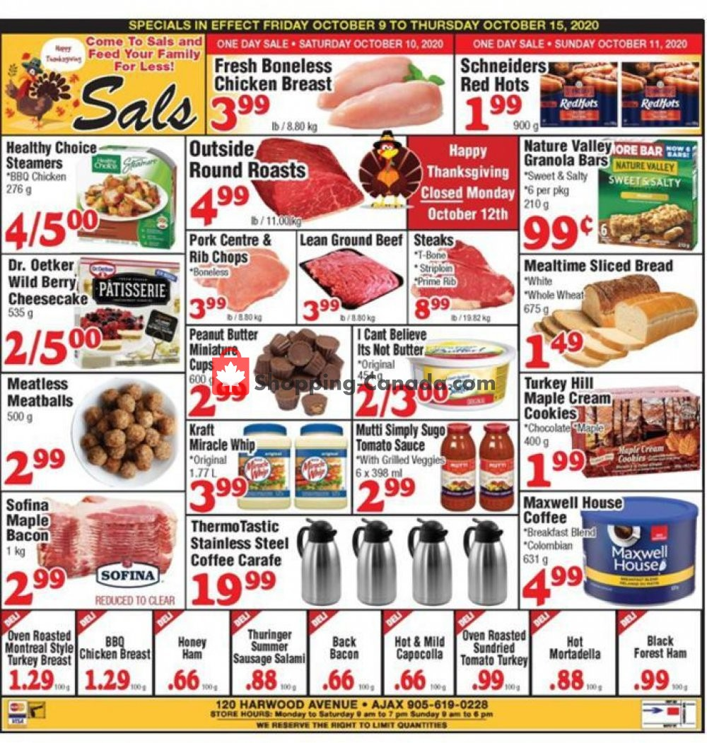 Flyer Sal's Grocery Canada - from Friday October 9, 2020 to Thursday October 15, 2020