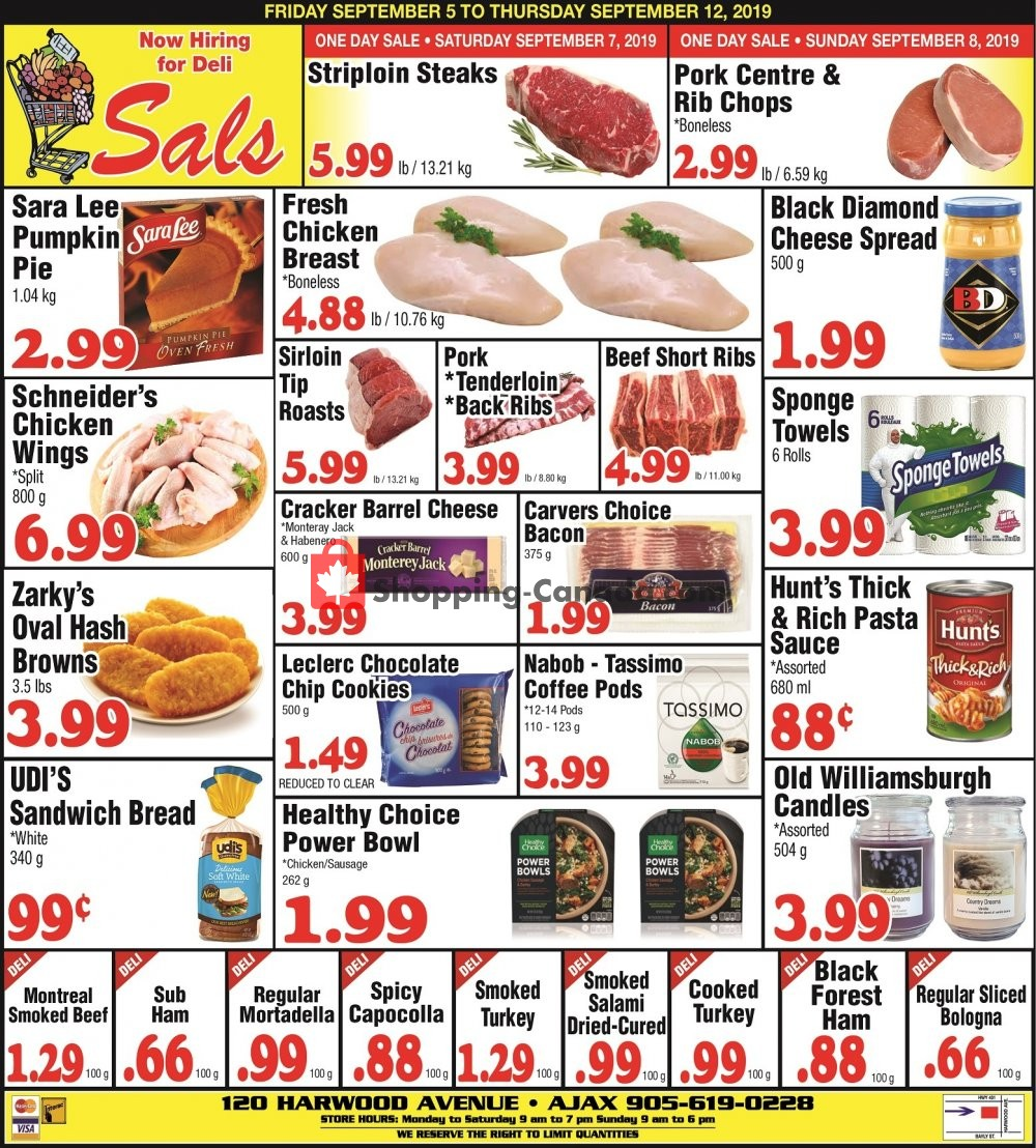 Flyer Sal's Grocery Canada - from Thursday September 5, 2019 to Thursday September 12, 2019