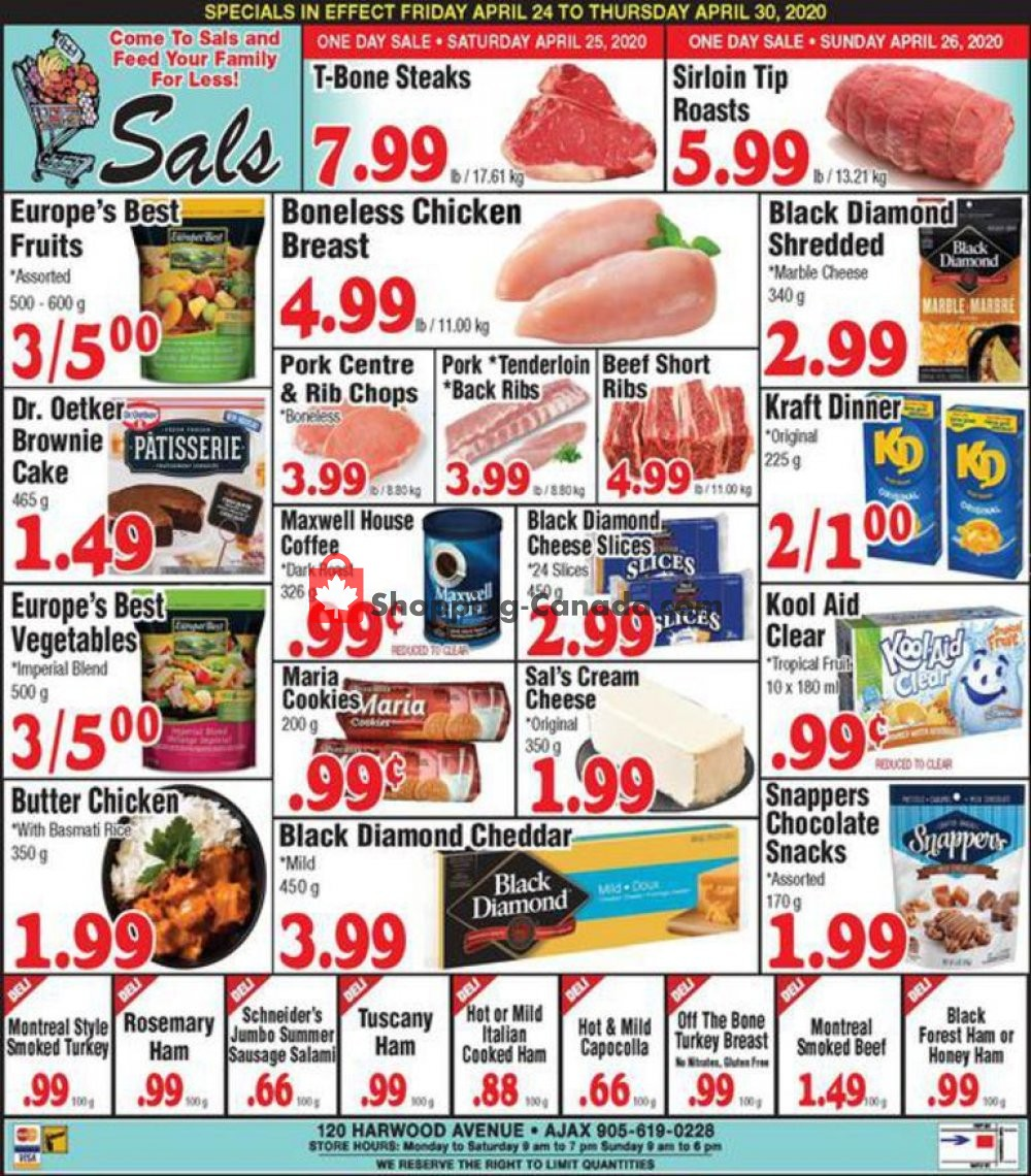 Flyer Sal's Grocery Canada - from Friday April 24, 2020 to Thursday April 30, 2020