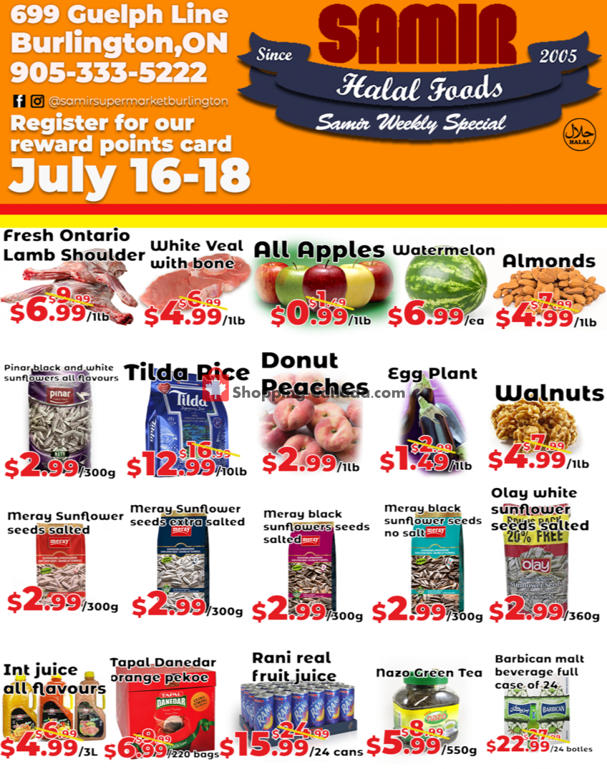 Flyer Samir Supermarket Canada - from Friday July 16, 2021 to Sunday July 18, 2021