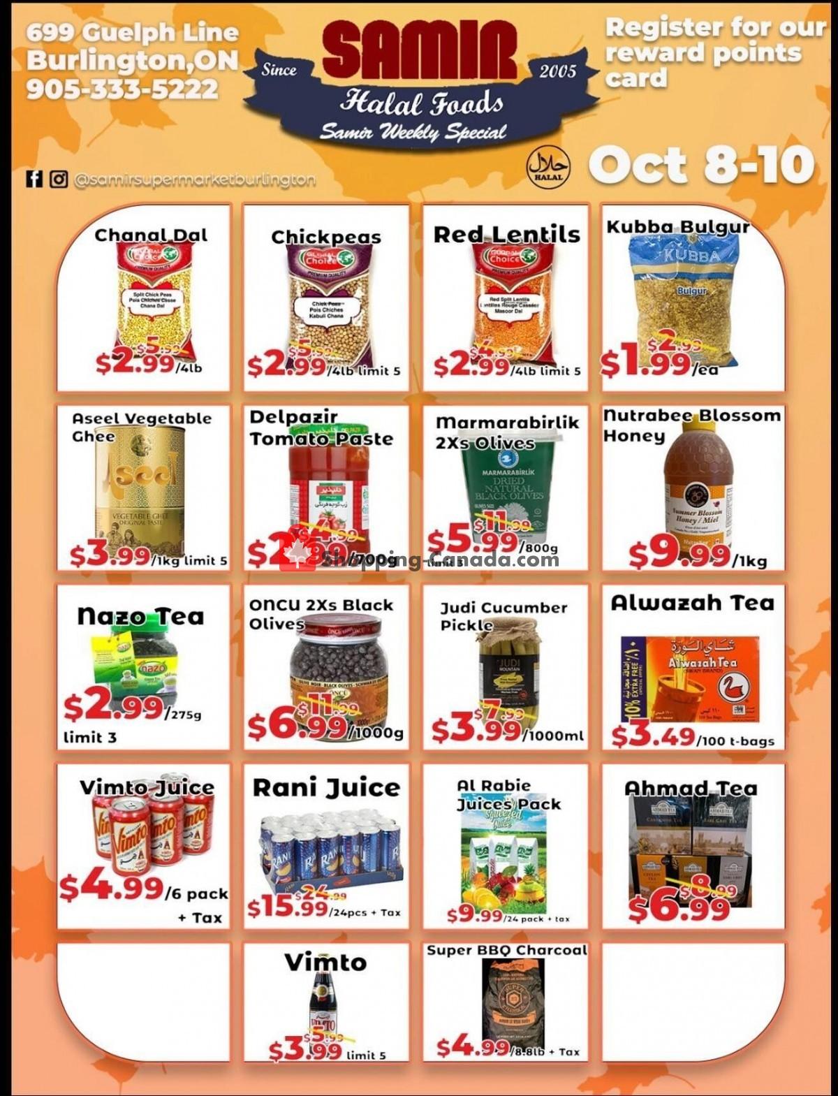 Flyer Samir Supermarket Canada - from Friday October 8, 2021 to Sunday October 10, 2021