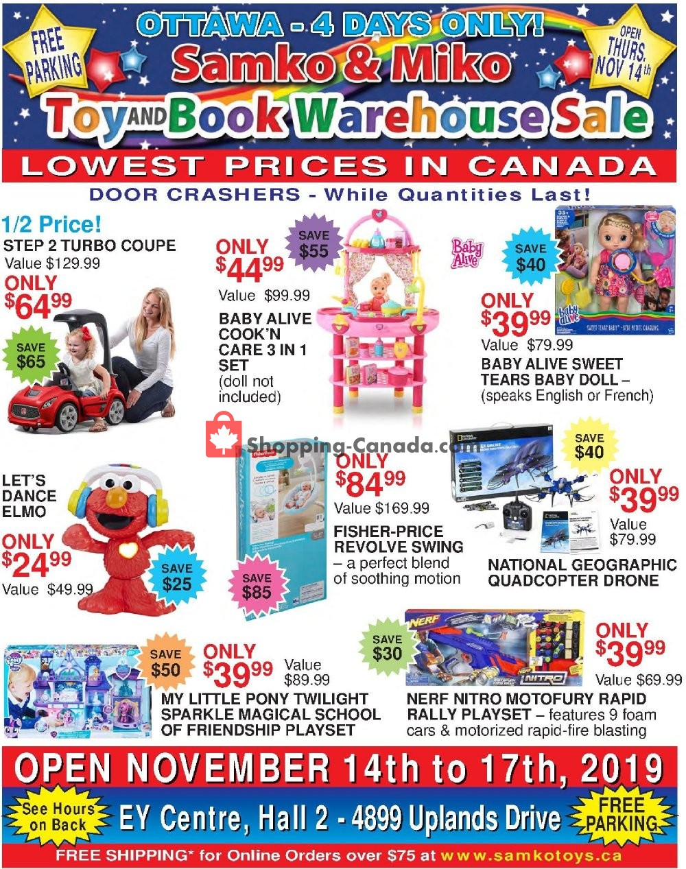 Flyer Samko and Miko Toy Warehouse Canada - from Thursday November 14, 2019 to Sunday November 17, 2019