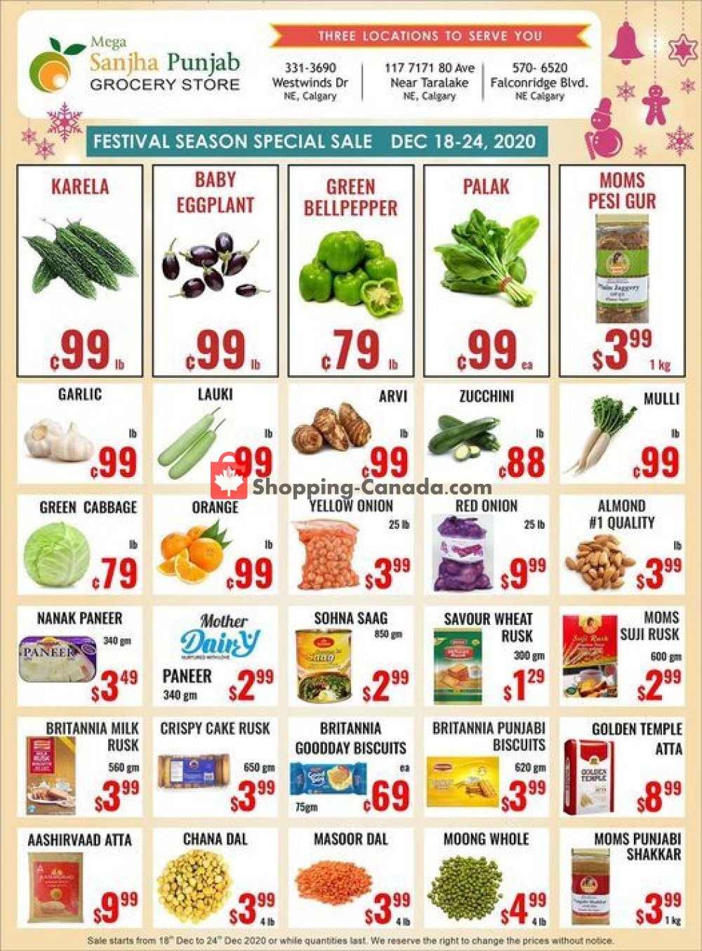 Flyer Sanjha Punjab grocery store Canada - from Friday December 18, 2020 to Thursday December 24, 2020