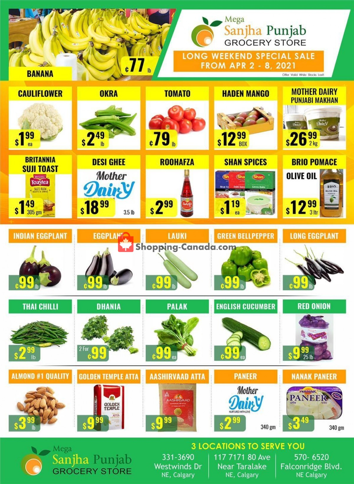 Flyer Sanjha Punjab grocery store Canada - from Friday April 2, 2021 to Thursday April 8, 2021