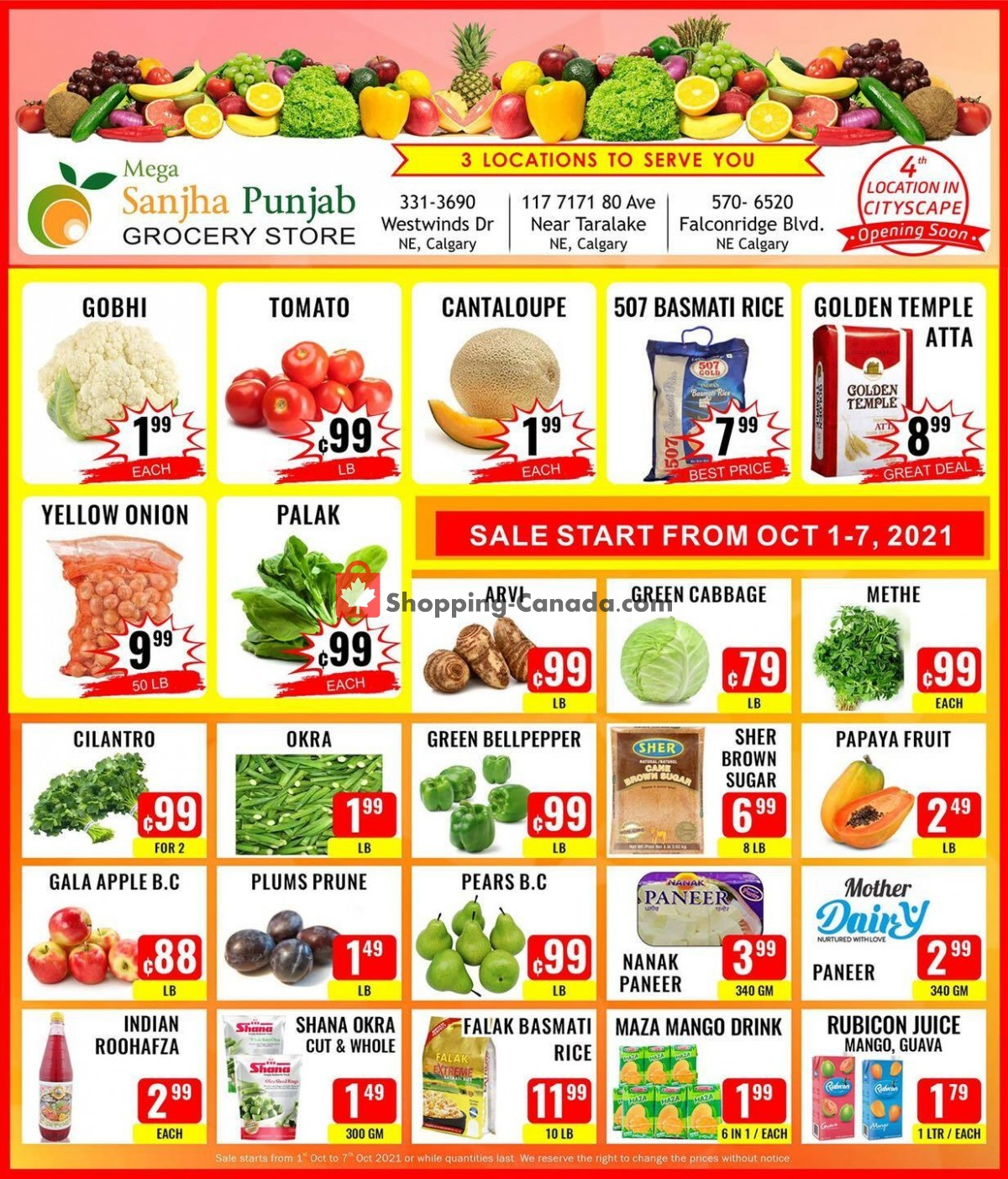 Flyer Sanjha Punjab grocery store Canada - from Friday October 1, 2021 to Thursday October 7, 2021