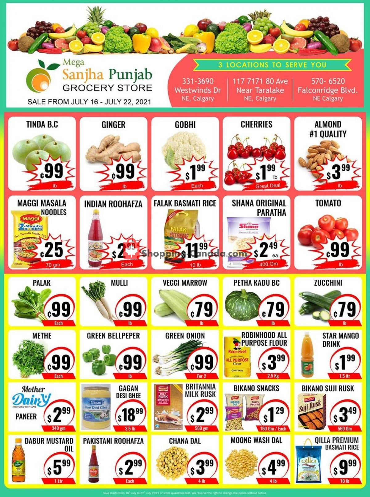 Flyer Sanjha Punjab grocery store Canada - from Friday July 16, 2021 to Thursday July 22, 2021