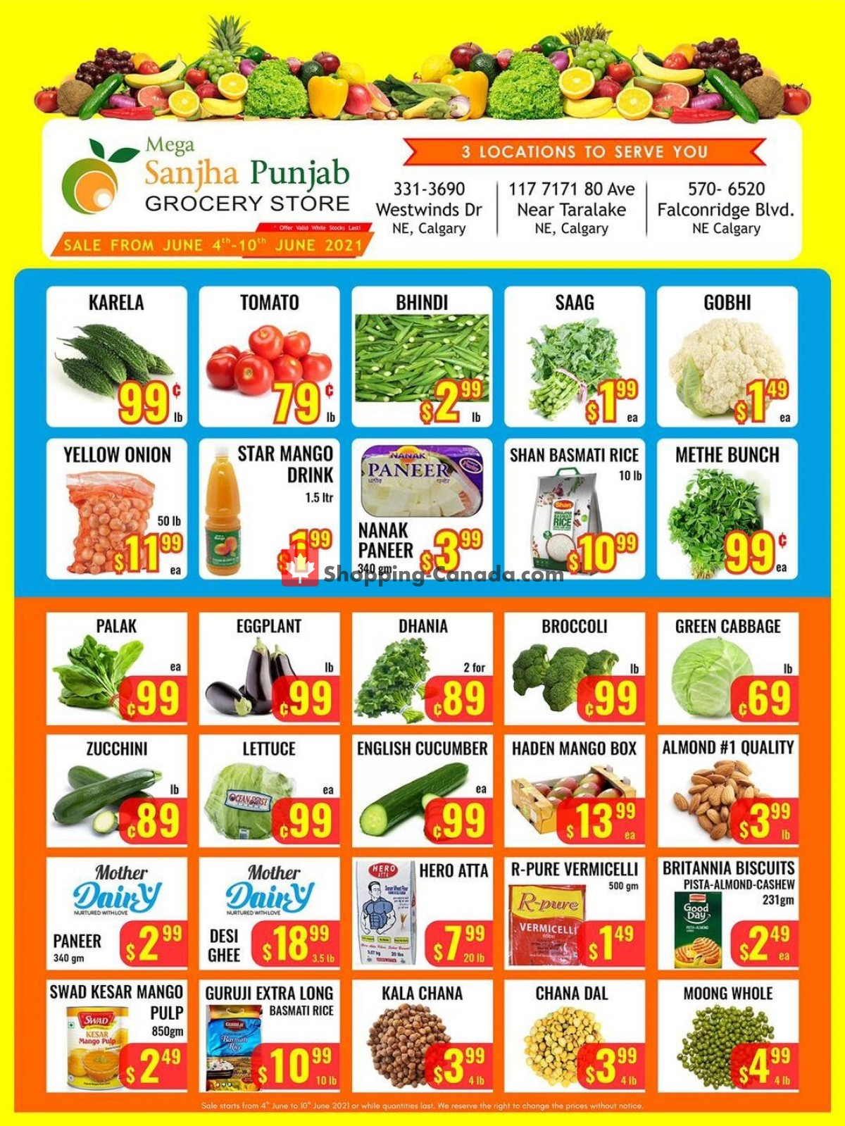 Flyer Sanjha Punjab grocery store Canada - from Friday June 4, 2021 to Thursday June 10, 2021