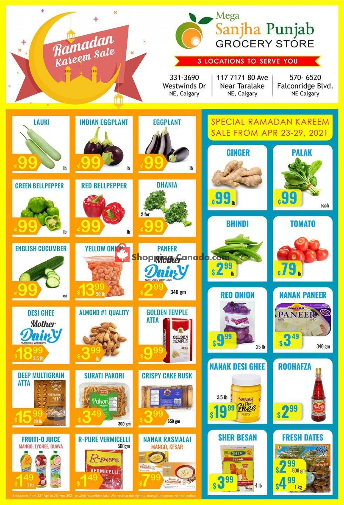 Flyer Sanjha Punjab grocery store Canada - from Friday April 23, 2021 to Thursday April 29, 2021