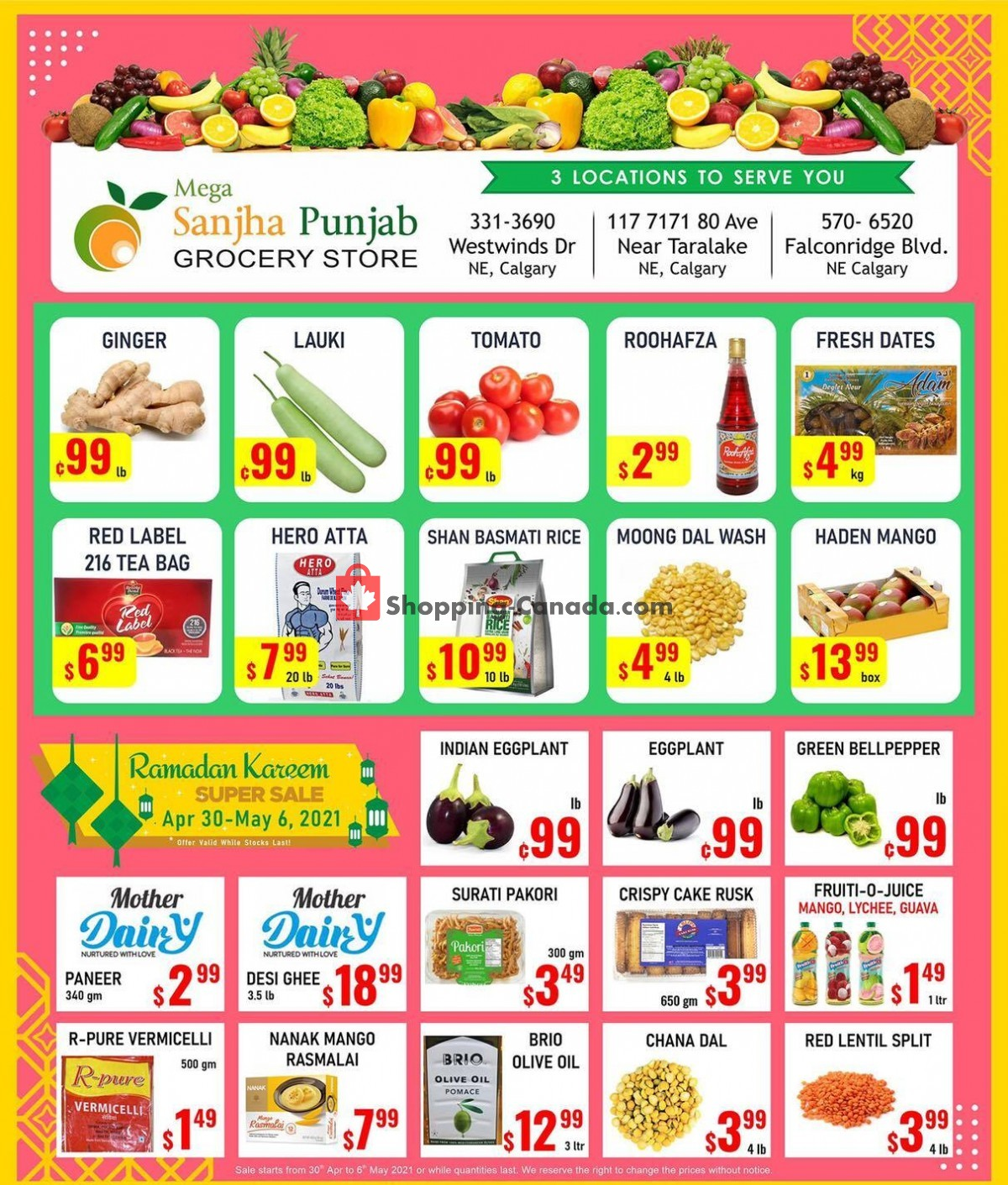 Flyer Sanjha Punjab grocery store Canada - from Friday April 30, 2021 to Thursday May 6, 2021