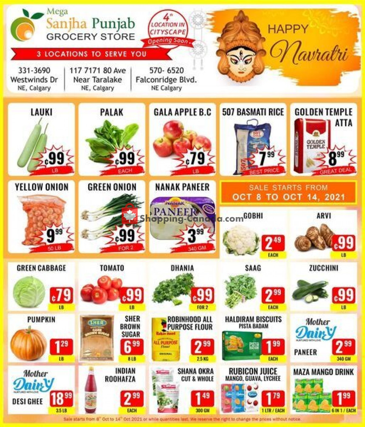 Flyer Sanjha Punjab grocery store Canada - from Friday October 8, 2021 to Thursday October 14, 2021