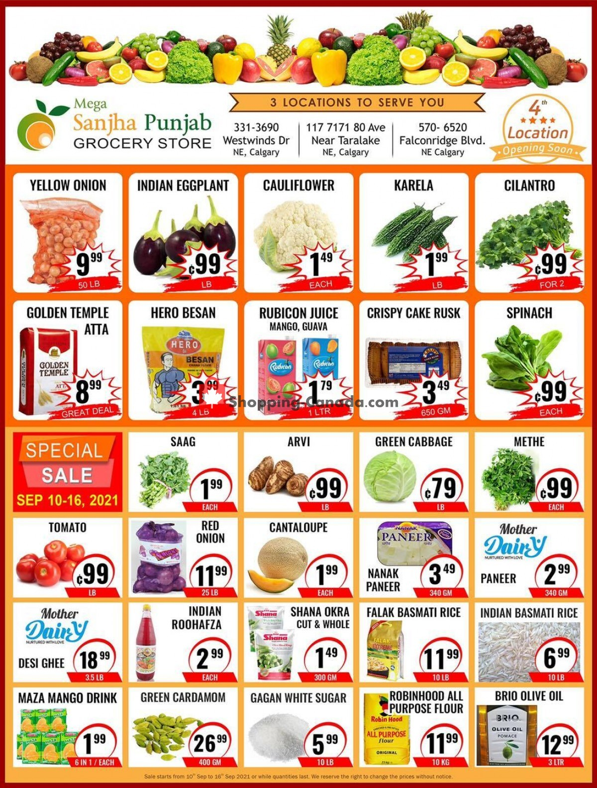 Flyer Sanjha Punjab grocery store Canada - from Friday September 10, 2021 to Thursday September 16, 2021