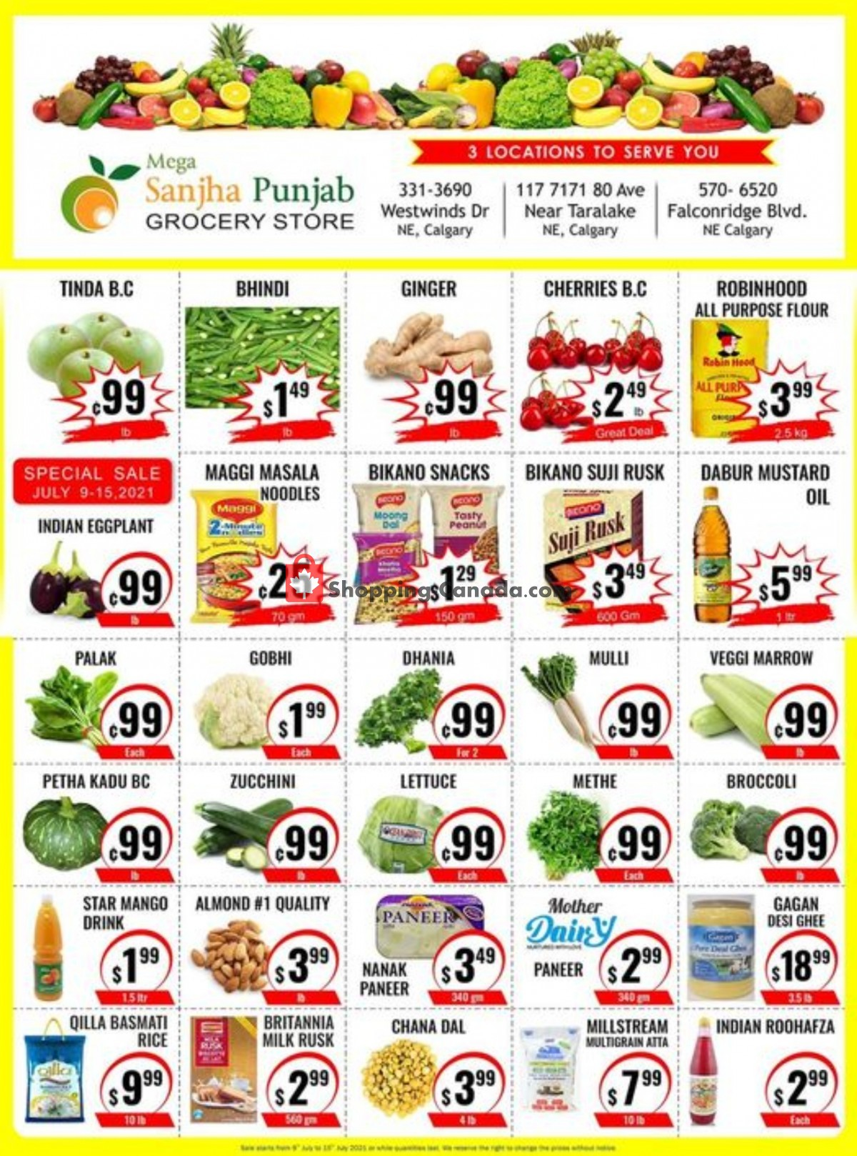 Flyer Sanjha Punjab grocery store Canada - from Friday July 9, 2021 to Thursday July 15, 2021