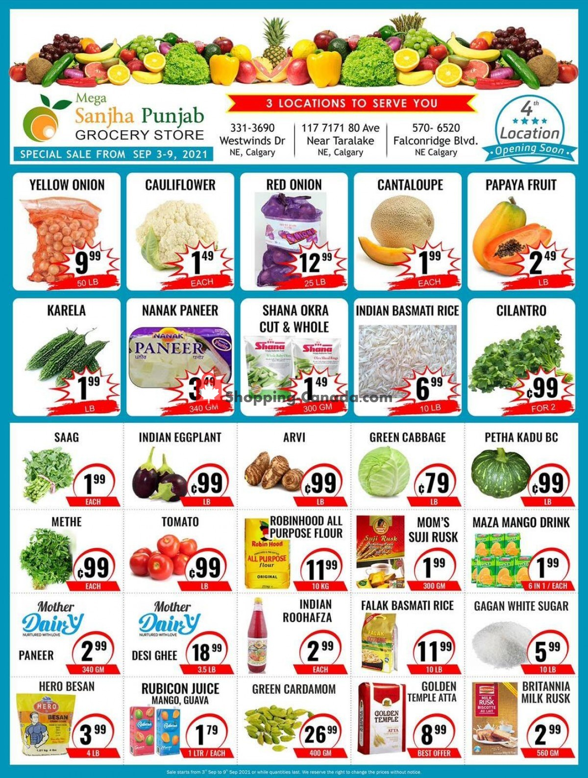 Flyer Sanjha Punjab grocery store Canada - from Friday September 3, 2021 to Thursday September 9, 2021