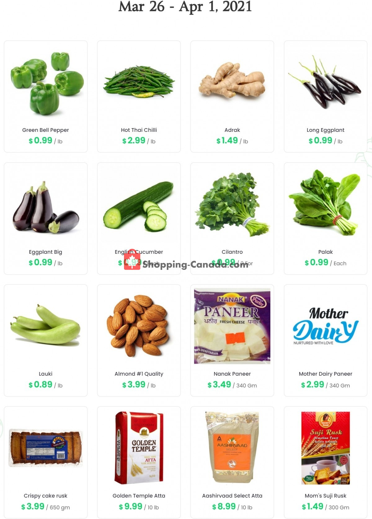 Flyer Sanjha Punjab grocery store Canada - from Friday March 26, 2021 to Thursday April 1, 2021